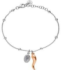 bracciale in argento rodiato con cornetto dorato e madonnina pendenti per donna