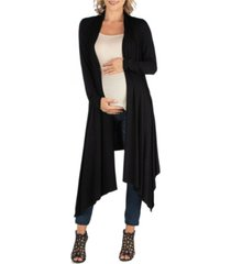 24seven comfort apparel long sleeve knee length open maternity cardigan