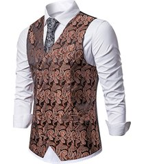 paisley jacquard double breasted business vest