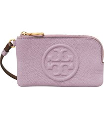 women's tory burch perry colorblock leather card case - purple