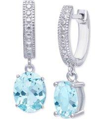 blue topaz dangle hoop drop earrings (3-1/5 ct. t.w.) in sterling silver