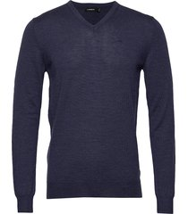 newman v-neck-perfect merino gebreide trui v-hals blauw j. lindeberg