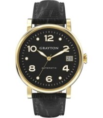 grayton women's classic collection black crocodile-embossed leather strap watch 36mm