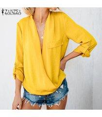 zanzea casual para mujer de manga larga con cuello en v tapas flojas camisas blusa de las señoras suéter -amarillo