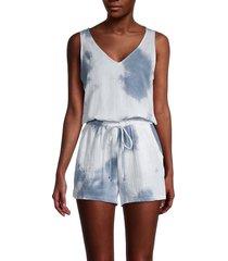 supply & demand women's travis tie-dye sleeveless romper - sky - size l