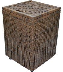 cesto roupa suja roupeiro fibra sintetica junco argila 40x40x57 - marrom - feminino - dafiti