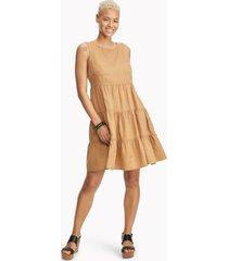 tommy hilfiger women's essential sleeveless tiered dress tan - 8