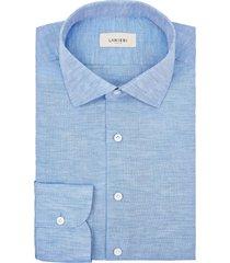 camicia da uomo su misura, canclini, cotone lino tinta unita azzurro, primavera estate | lanieri