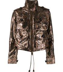 dsquared2 metallic lurex utility jacket - brown