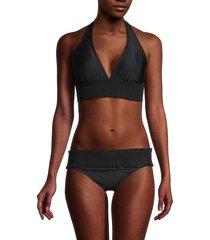 tommy hilfiger women's smocked halter bikini top - black - size l