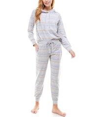 roudelain printed hoodie & jogger pants loungewear set