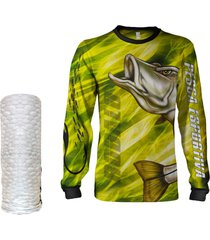 camisa máscara pesca quisty robalo arisco amarelo proteção uv dryfit infantil/adulto - camiseta de pesca quisty