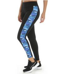 calça legging oxer mesh nicole - feminina - preto/azul
