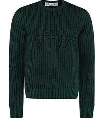 off-white long sleeve crew-neck sweater