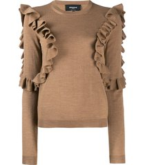 rochas ruffled sweatshirt - neutrals