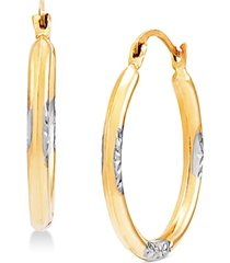 small hoop earrings in 14k gold & white rhodium-plate