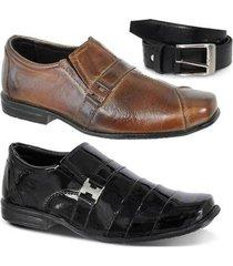 kit 2 pares sapato social infantil clássico e 1 cinto leoppé - masculino
