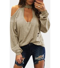 beige sexy cold shoulder ripped long sleeves t-shirt