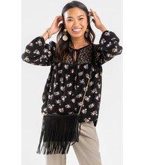 alyx floral blouse - black