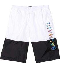 balmain white teen bermuda shorts