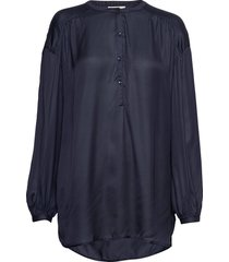 nellie satin blouse blouse lange mouwen blauw lexington clothing