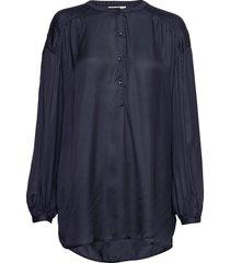 nellie satin blouse blouse lange mouwen blauw lexington clothing