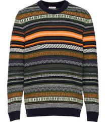 multi colored jacquard o-neck knit gebreide trui met ronde kraag multi/patroon knowledge cotton apparel