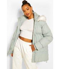 medium lengte gewatteerde jas met faux fur zoom en zakdetail, sage