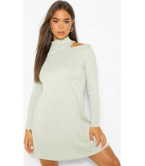 cold shoulder roll neck swing dress, sage