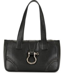 burberry pre-owned buckle detail tote bag - black