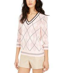 tommy hilfiger argyle pointelle cotton sweater