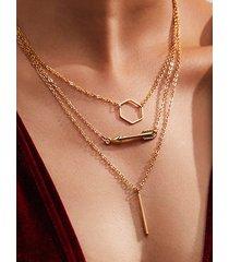 collar con múltiples capas de flecha circular retro hexagonal de oro