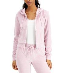 vanilla star juniors' zippered velour hoodie