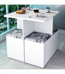 mesa de jantar 4 lugares branco/damasco con1201 - appunto