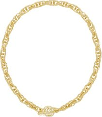 ettika 18k gold chain rope imitation pearl toggle women's necklace