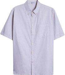 camisa hombre m/c con bolsillo color café, talla s