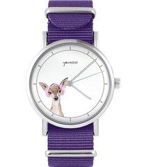 zegarek - sarenka - fiolet, nylonowy