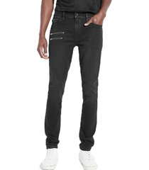 jeans skinny coated w zips basm negro guess