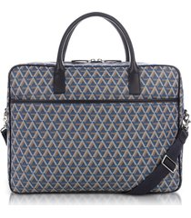 lancaster paris designer briefcases, ikon blue coated canvas men's briefcase