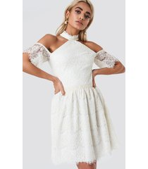 trendyol cold shoulder lace mini dress - white