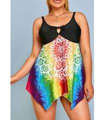 plus size splatter tie dye floral tie boyshorts tankini swimwear