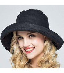 sombrero para mujer, sol verano sra. algodón-negro