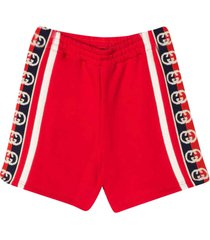 gucci red and white bermuda shorts