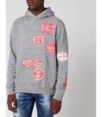dsquared2 men's cool fit pop over hoodie - dark grey melange - xxl