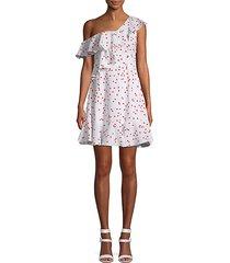polka dot one-shoulder ruffle dress