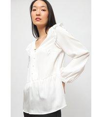 blusa io lisa  manga vuelos blanco - calce regular