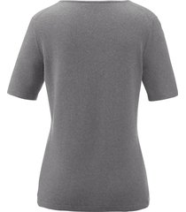 trui van zijde en kasjmier met korte mouwen van peter hahn grijs