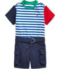 polo ralph lauren baby boys t-shirt, belt & shorts set