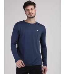 camiseta masculina esportiva ace com proteção uv50+ manga longa gola redonda azul marinho