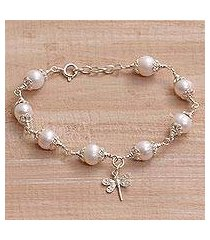 cultured pearl charm bracelet, 'moonlight dragonfly' (indonesia)